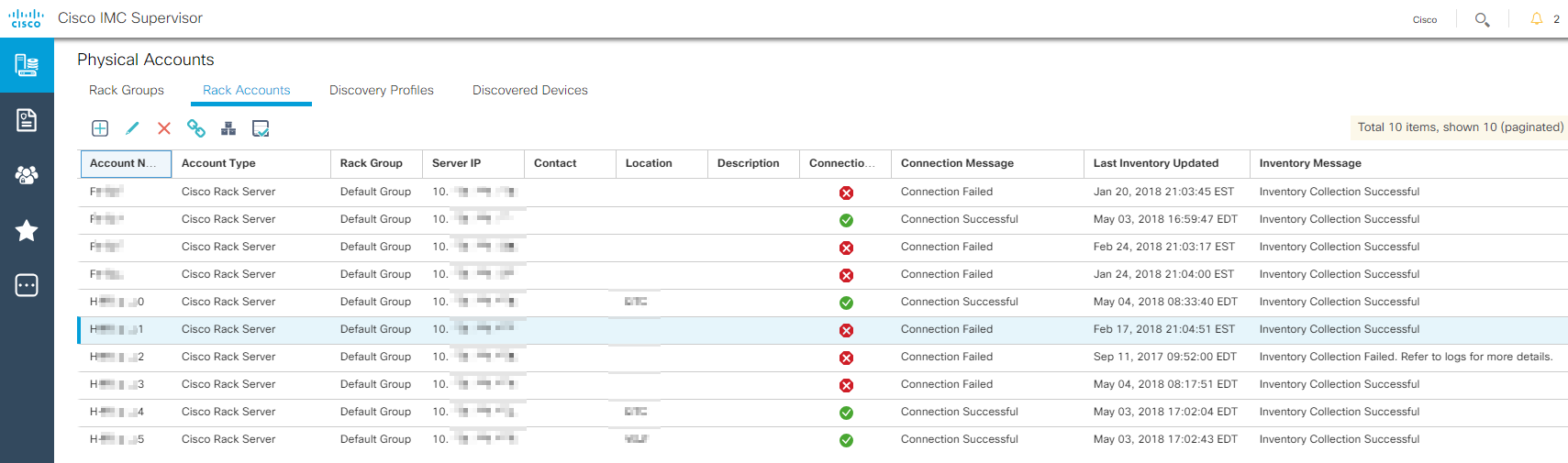 Cisco IMC from some servers is not connected